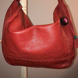 THE SAK Large Red Leather Hobo Shoulder Bag VGUC